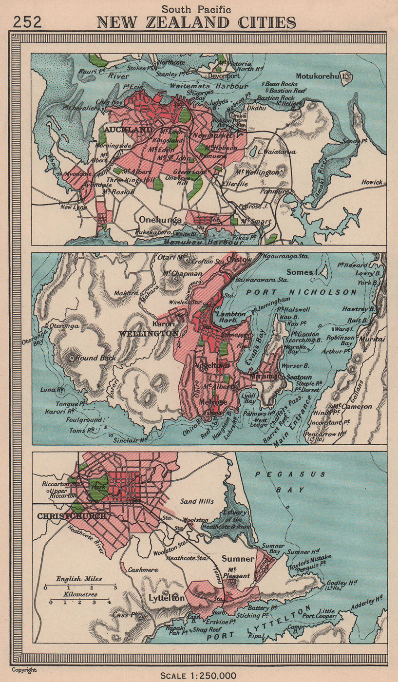 New Zealand Cities. Auckland Wellington Christchurch. BARTHOLOMEW 1949 old map