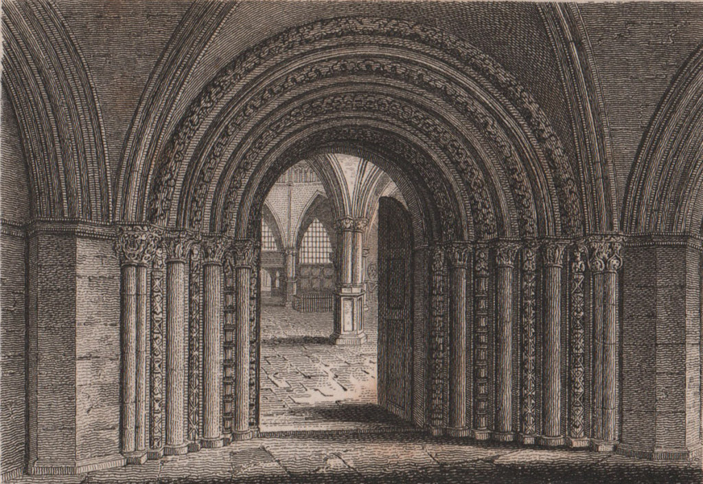 Entrance to the Temple Church, London. Antique engraved print 1817 old