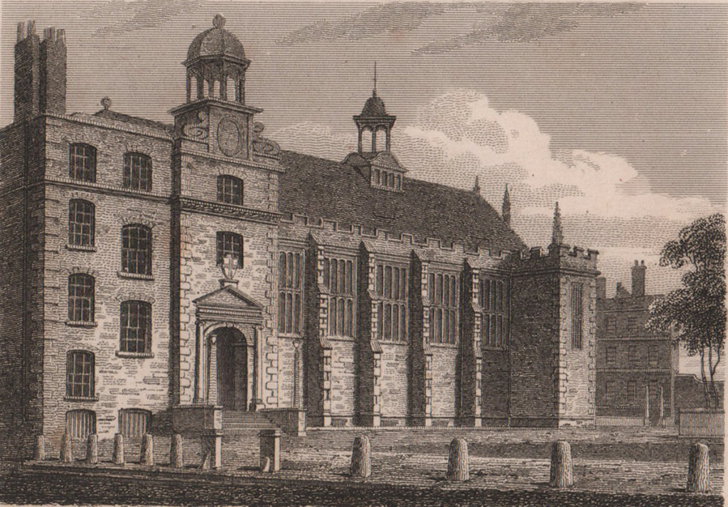 The Temple Hall, London. Antique engraved print 1817 old picture