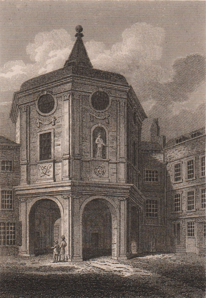 Royal College of Physicians, London. Antique engraved print 1817 old