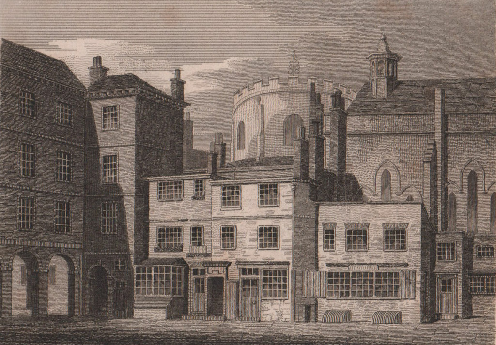 Part of the Temple Church, London. Antique engraved print 1817 old