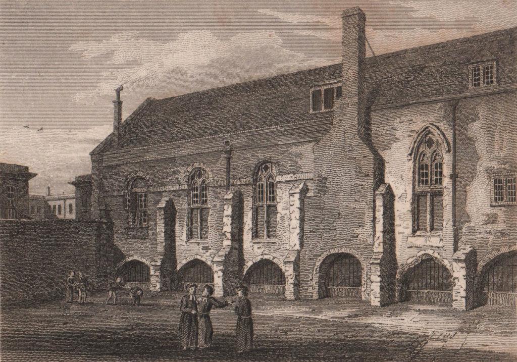Grey Friars Monastery or Christ's Hospital London. Antique print 1817
