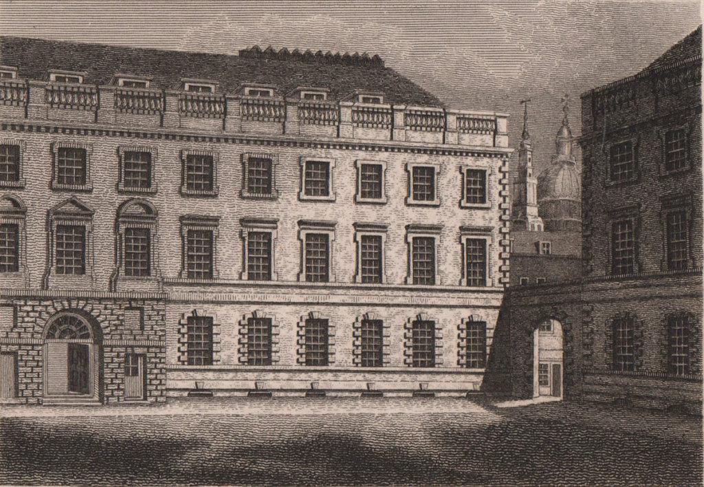 St. Bartholemew's Hospital, London. Antique engraved print 1817 old