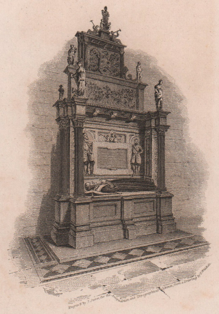 Sutton's Tomb, The Charterhouse, London. Antique engraved print 1817 old