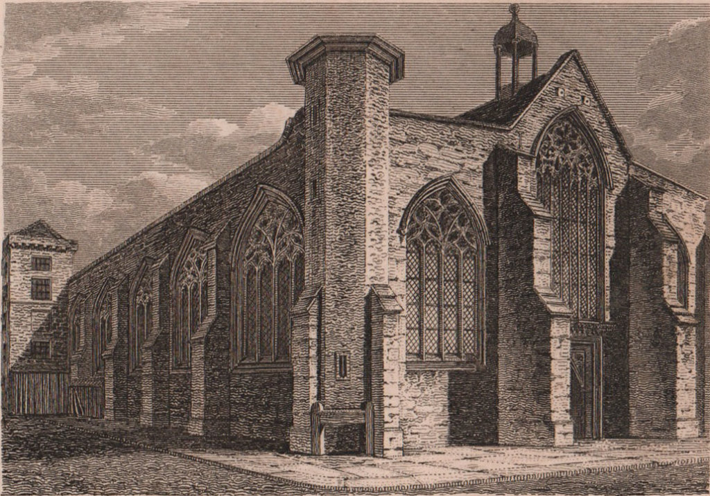 St. Augustines Church, London. Antique engraved print 1817 old