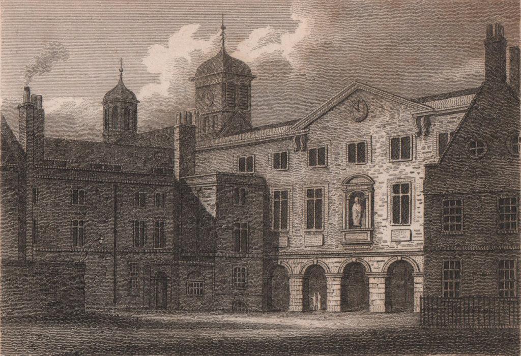The Writing School & Christ's Hospital, Newgate, London. Antique print 1817