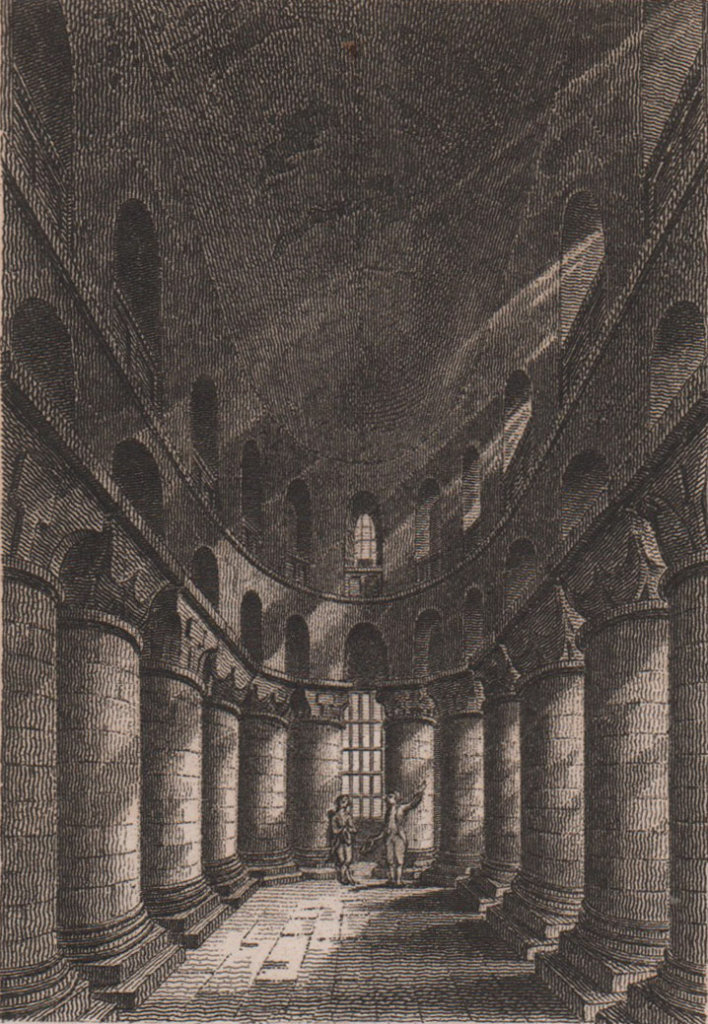 The Chapel in the White Tower, London. Antique engraved print 1817 old
