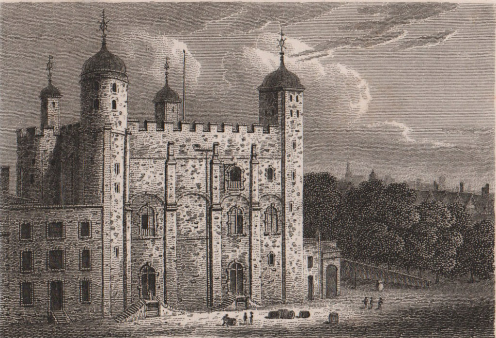 Tower of London. Antique engraved print 1817 old vintage picture