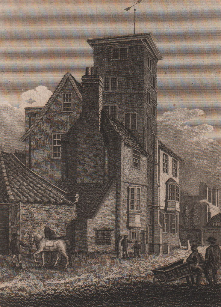 The Manor House, Canonbury Tower, London. Antique engraved print 1817