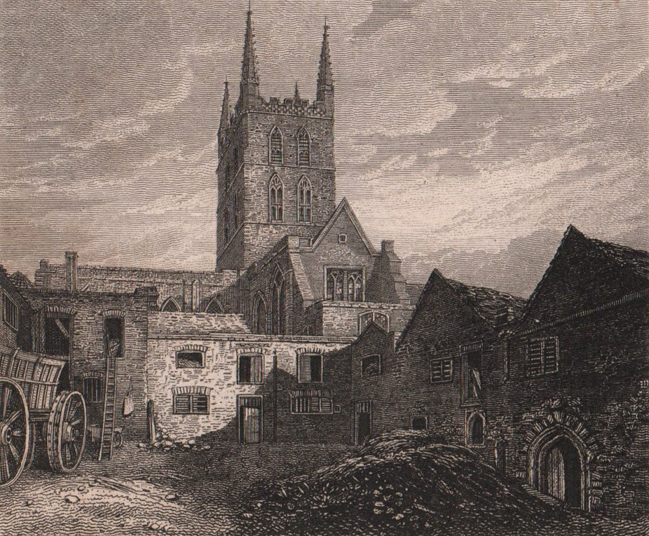 St. Mary Overie Church, Southwark Cathedral, London. Antique engraved print 1817