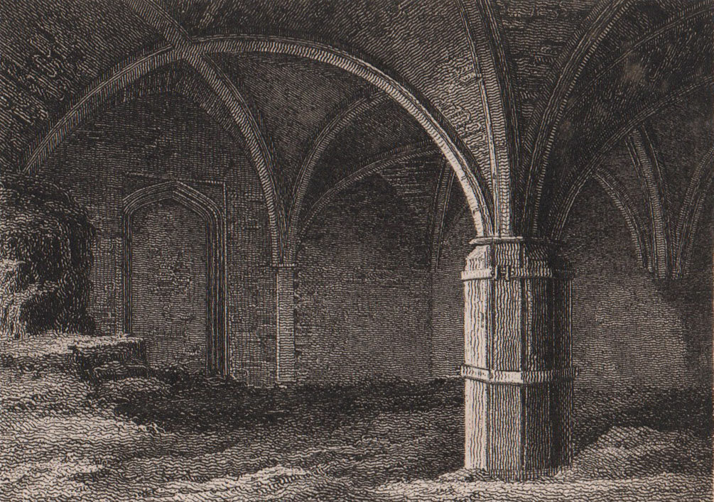 Part of the Priory, St. Mary Overie, Southwark Cathedral. Antique print 1817