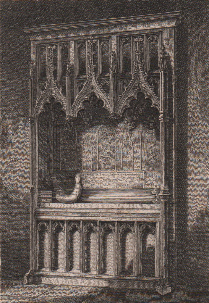 John Gower's Monument, St. Mary Ovarie Church, Southwark Cathedral 1817 print