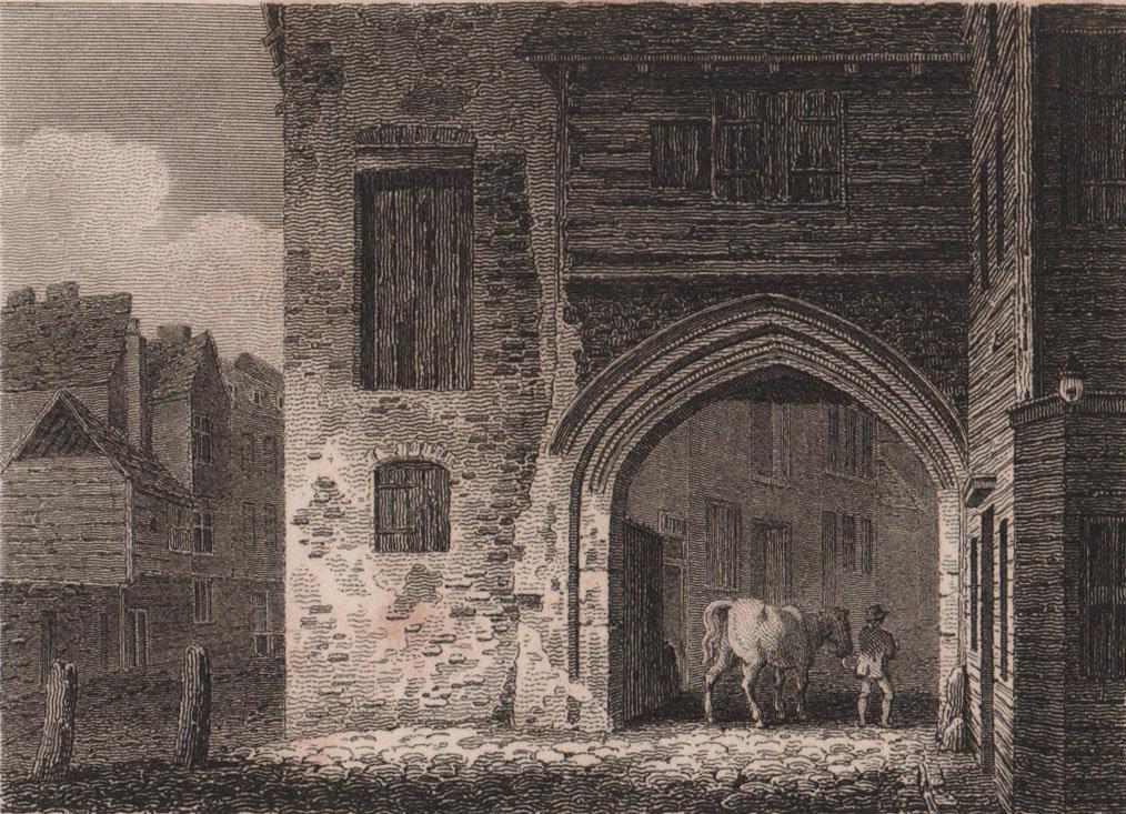 Ancient gateway, Southwark, London. Antique engraved print 1817 old