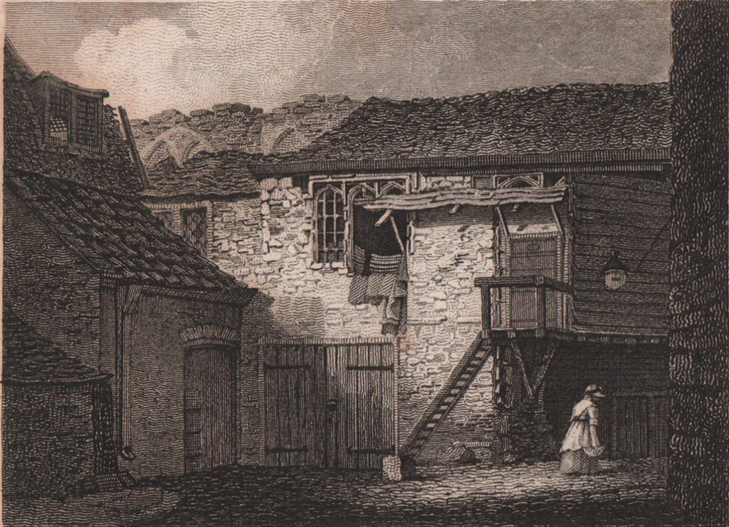 Remains of Winchester Palace, Southwark, London. Antique engraved print 1817
