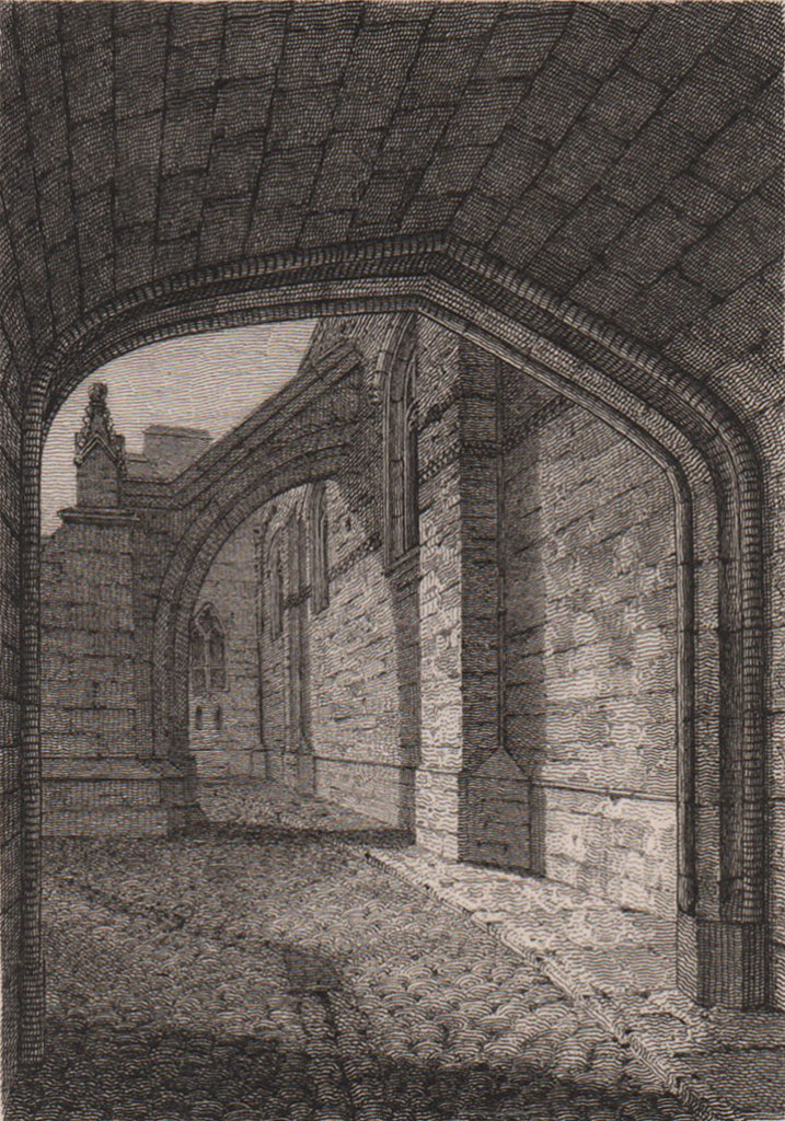 Part of Westminster Hall, London. Antique engraved print 1817 old