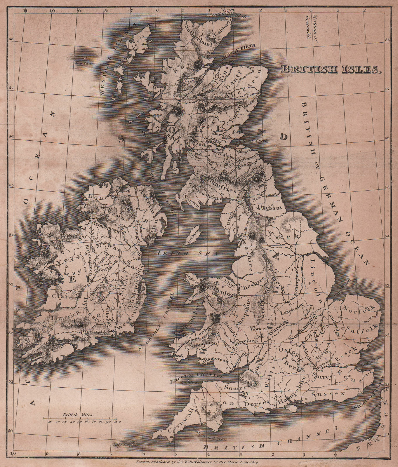 British Isles antique copperplate map by Benjamin Pitts Capper 1825 old