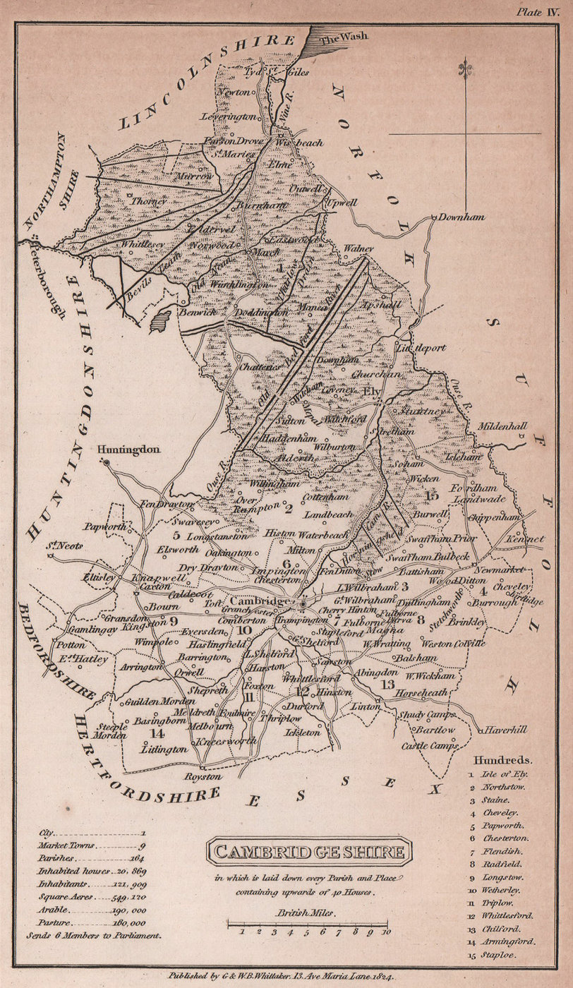 Cambridgeshire antique copperplate county map by Benjamin Pitts Capper 1825