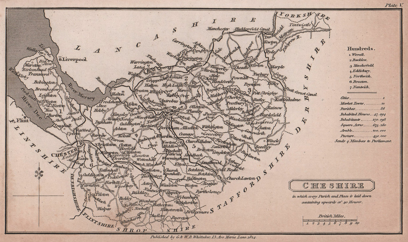 Cheshire antique copperplate county map by Benjamin Pitts Capper 1825 old