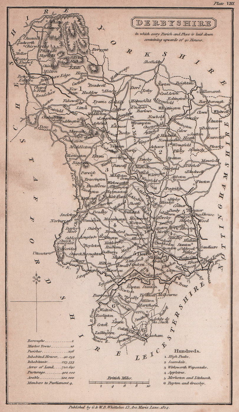 Derbyshire antique copperplate county map by Benjamin Pitts Capper 1825
