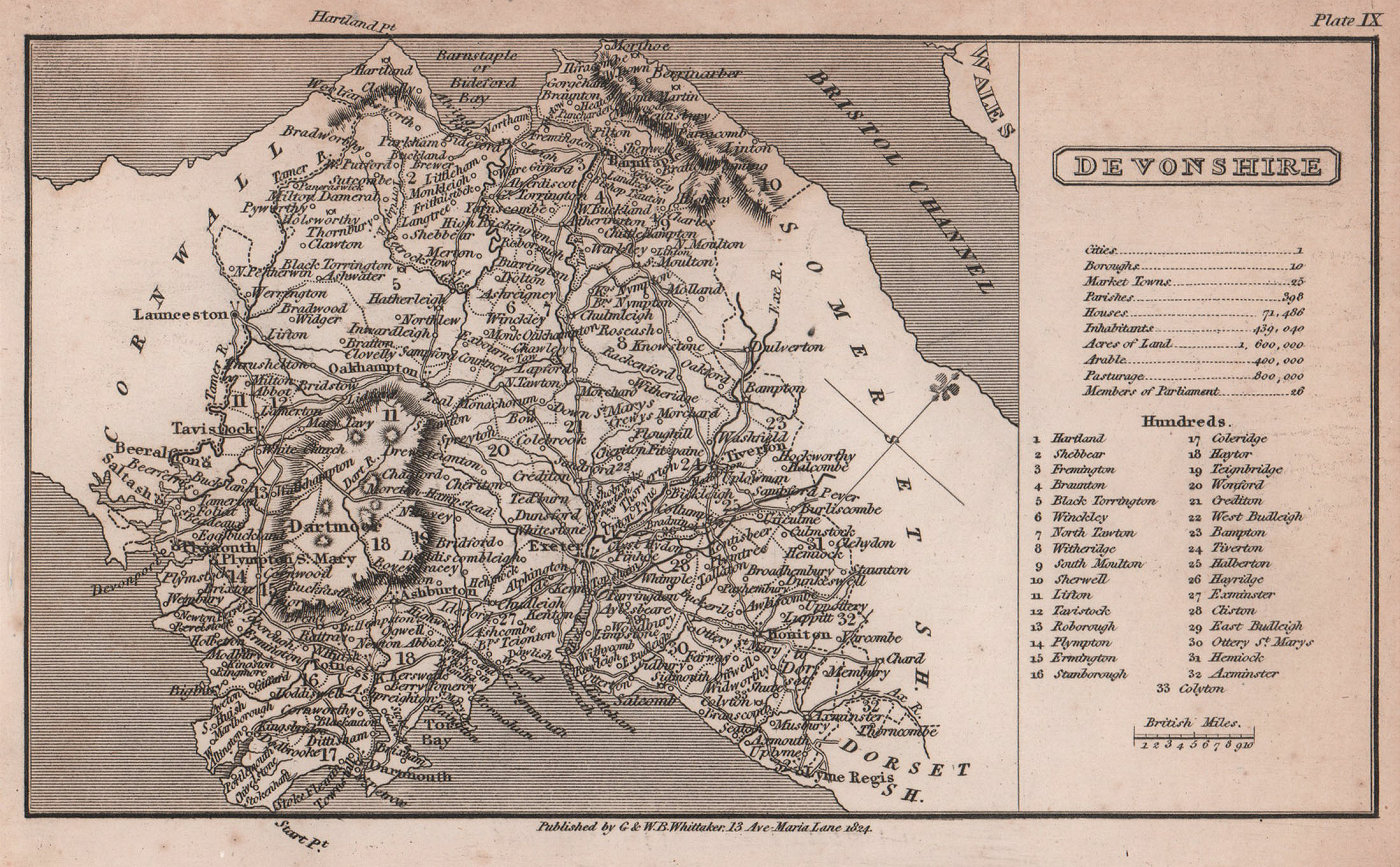 Devonshire antique copperplate county map by Benjamin Pitts Capper 1825