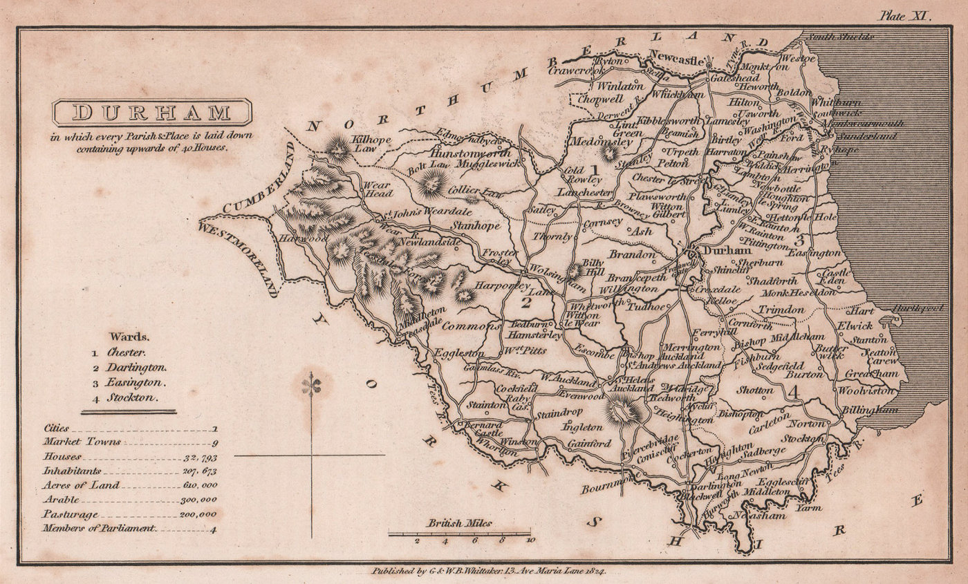 Durham antique copperplate county map by Benjamin Pitts Capper 1825 old