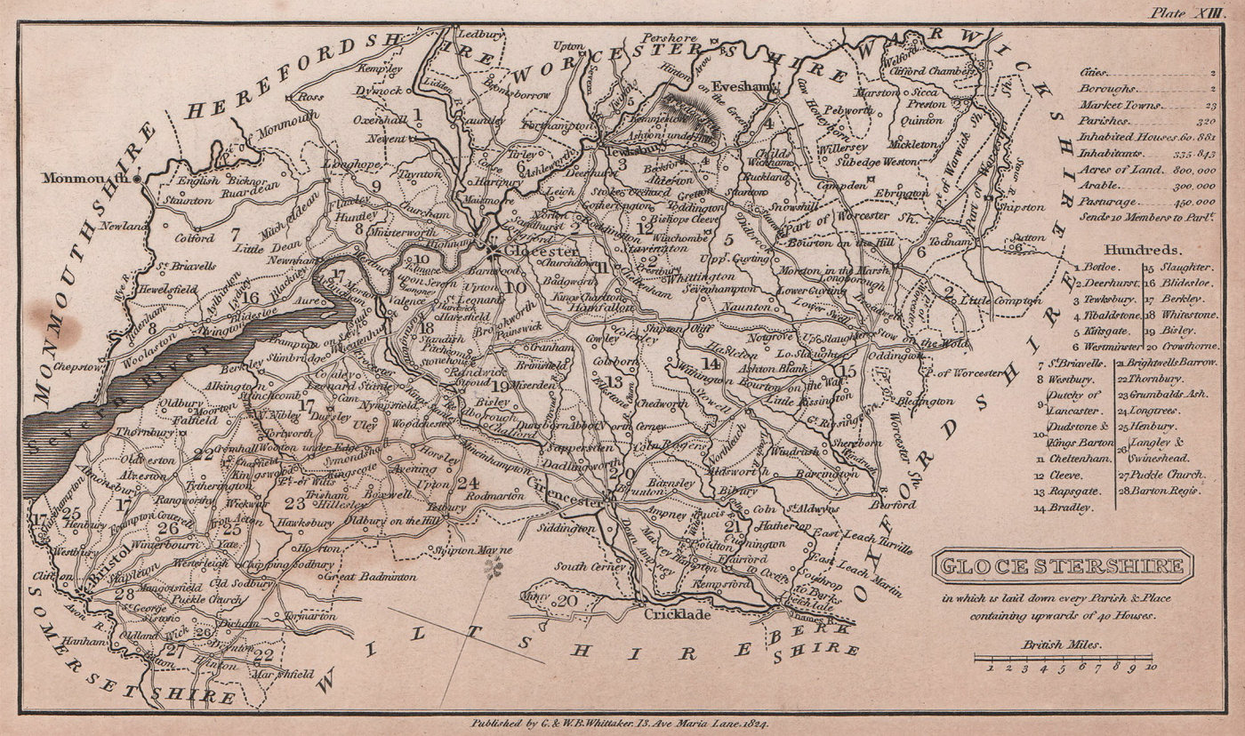 Gloucestershire antique copperplate county map by Benjamin Pitts Capper 1825
