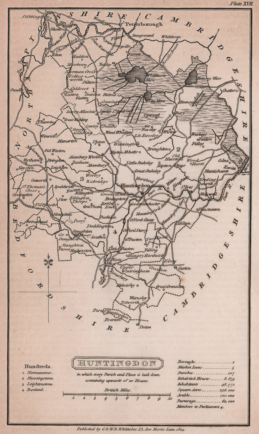 Huntingdonshire antique copperplate county map by Benjamin Pitts Capper 1825