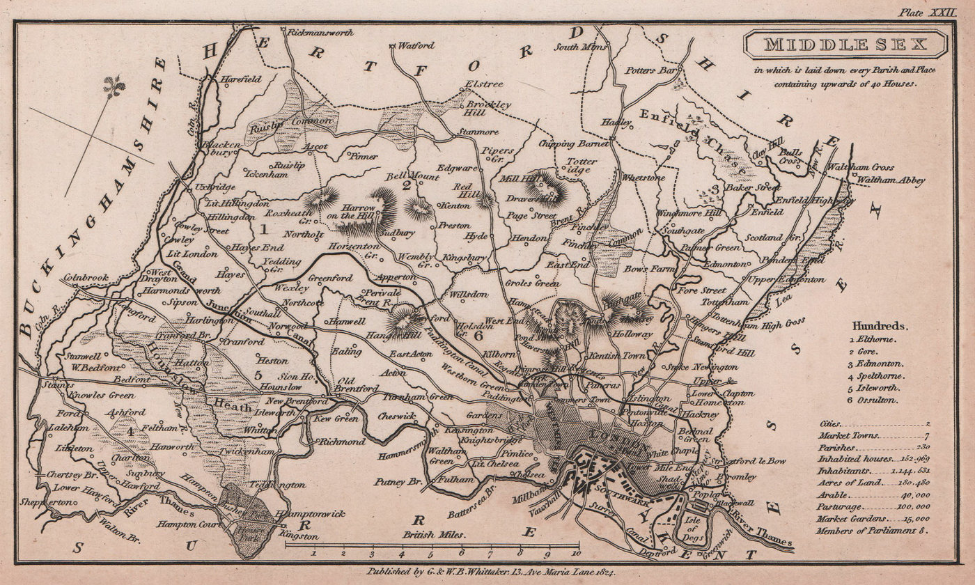 Middlesex antique copperplate county map by Benjamin Pitts Capper 1825 old