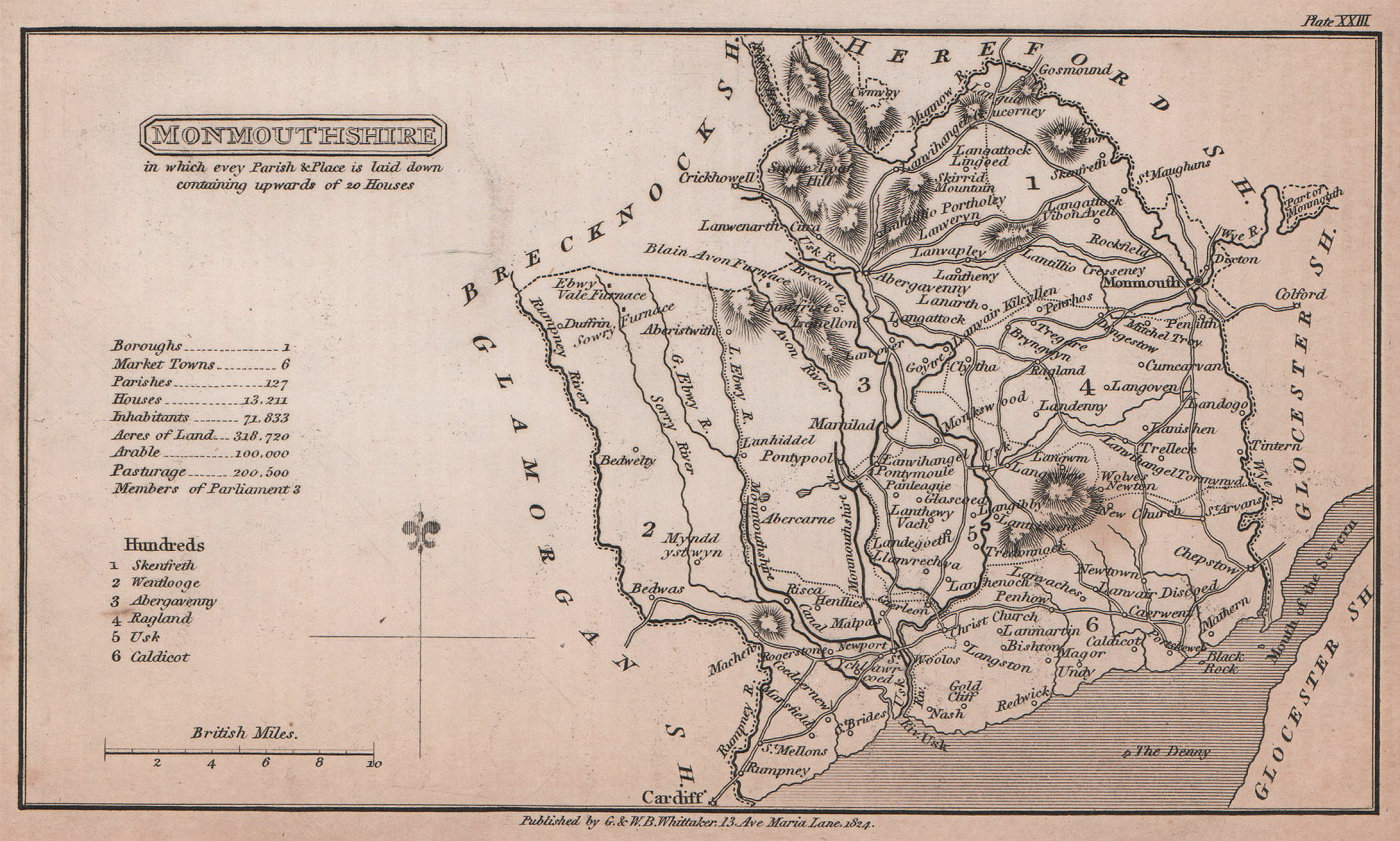 Monmouthshire antique copperplate county map by Benjamin Pitts Capper 1825