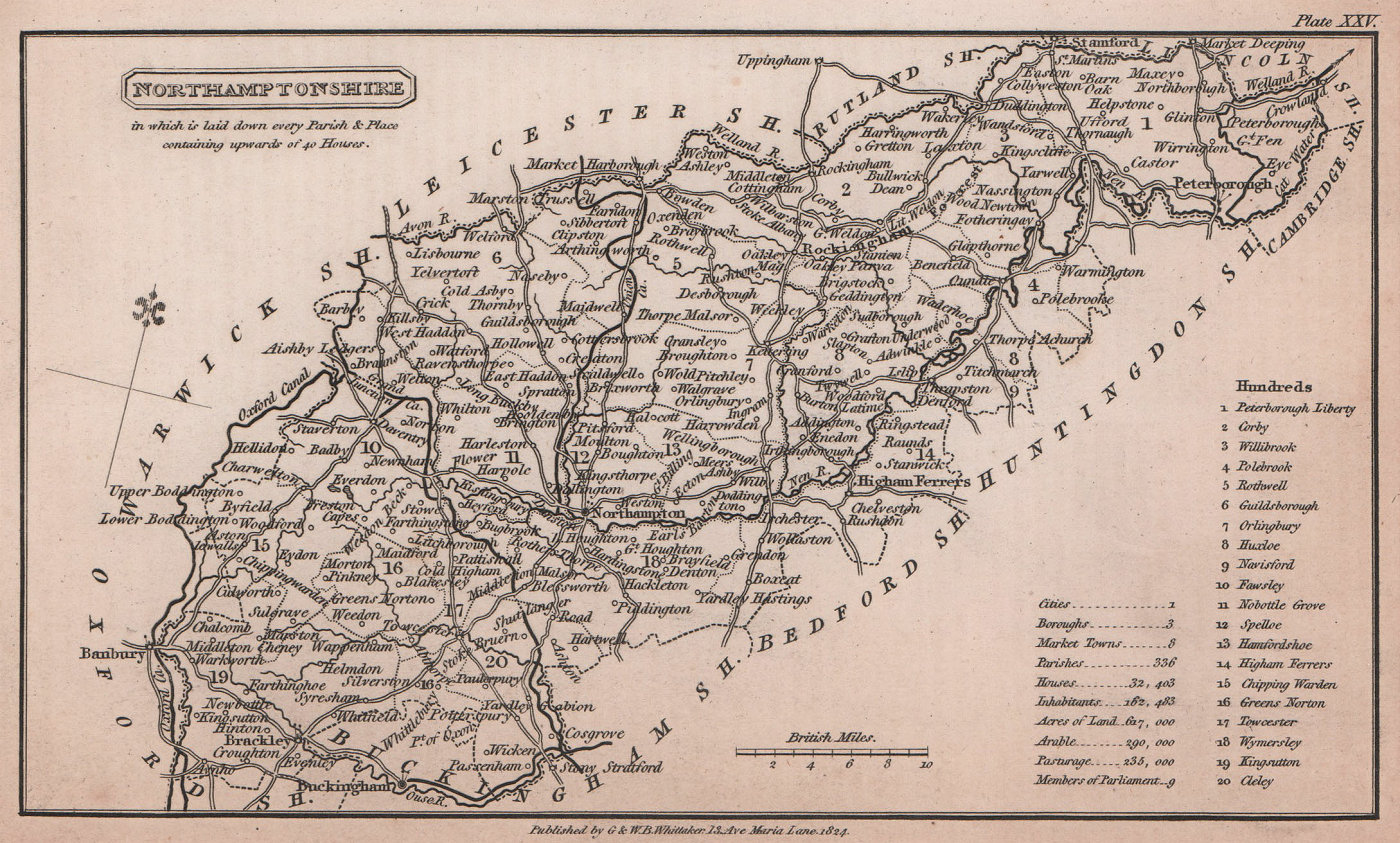 Northamptonshire antique copperplate county map by Benjamin Pitts Capper 1825