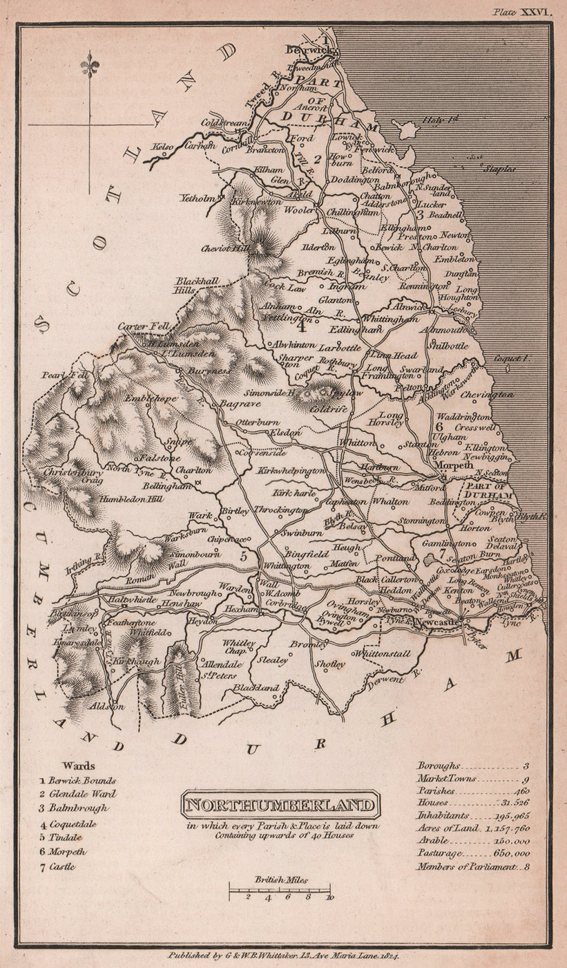 Northumberland antique copperplate county map by Benjamin Pitts Capper 1825