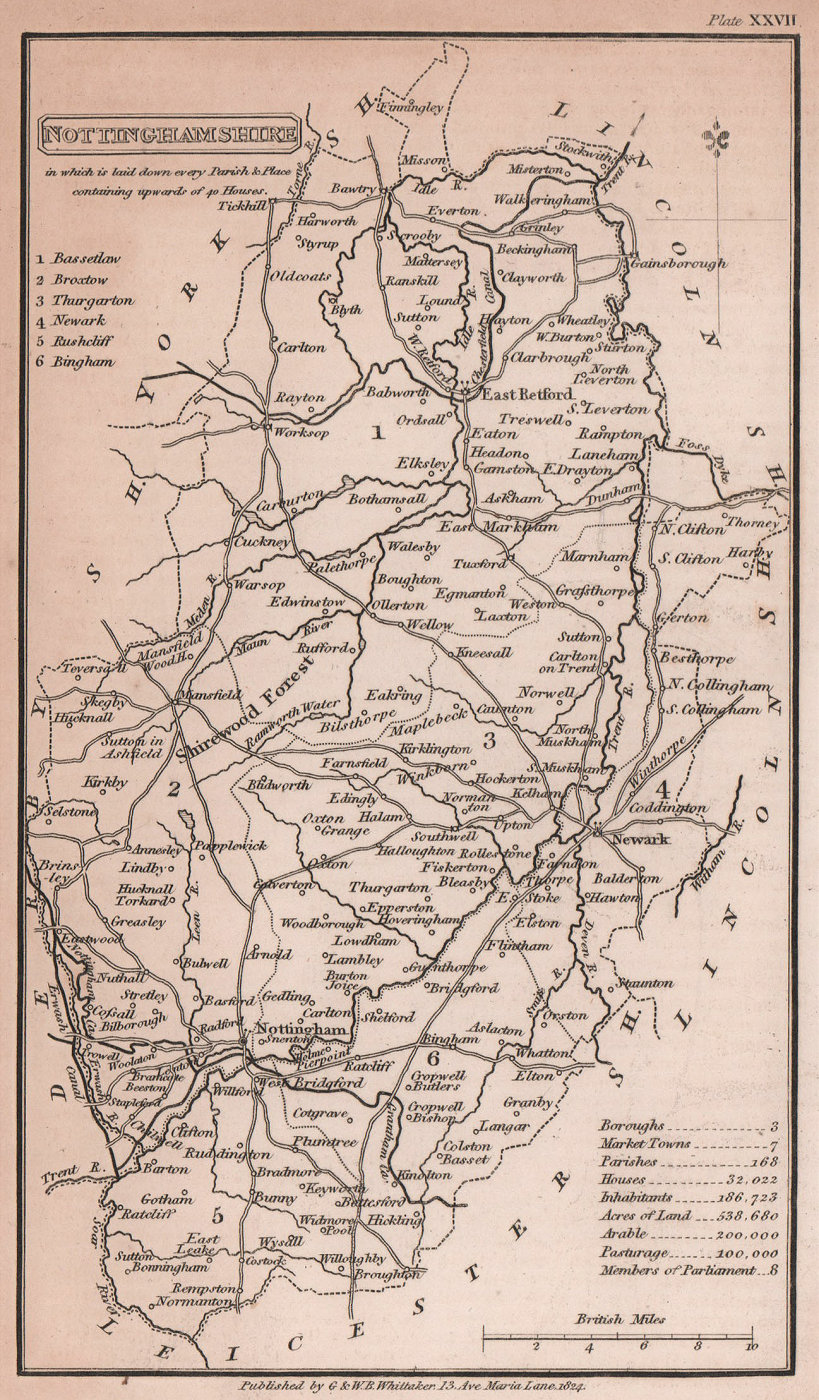 Nottinghamshire antique copperplate county map by Benjamin Pitts Capper 1825