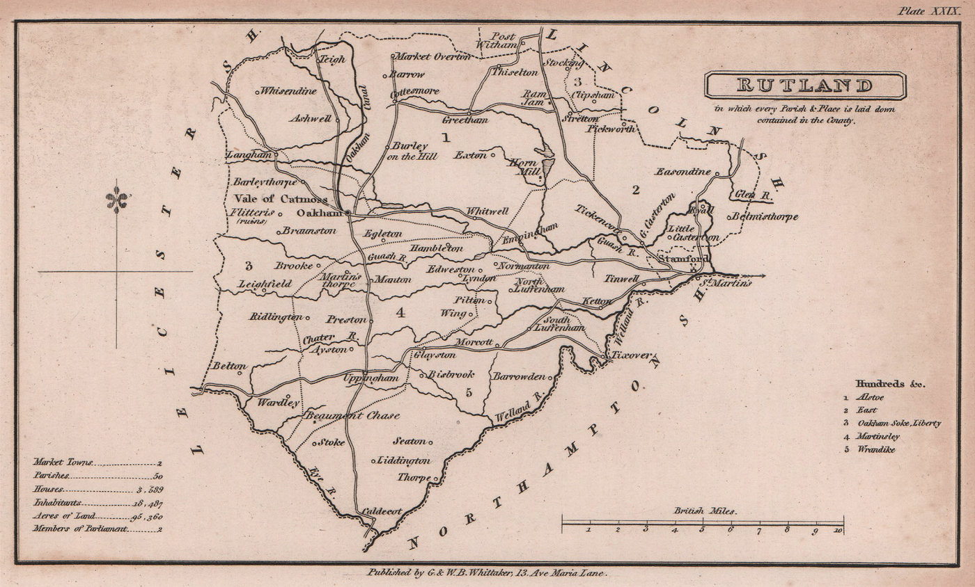 Rutland antique copperplate county map by Benjamin Pitts Capper 1825 old