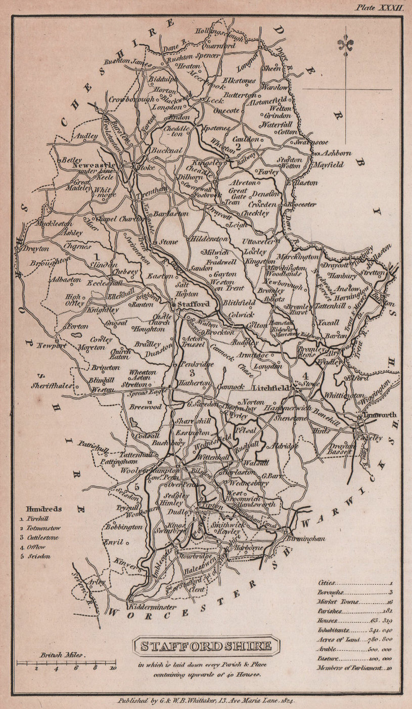Staffordshire antique copperplate county map by Benjamin Pitts Capper 1825