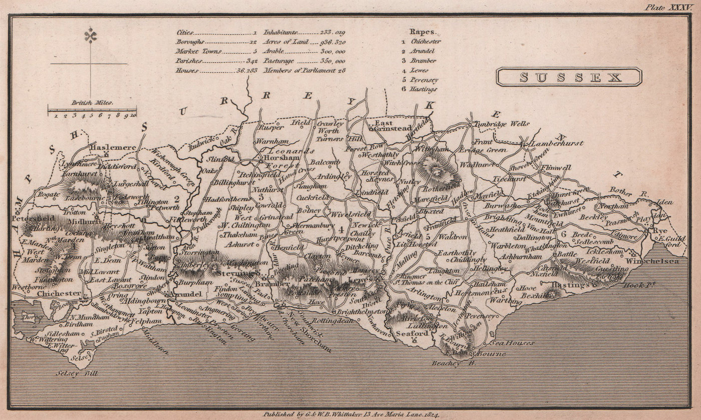 Sussex antique copperplate county map by Benjamin Pitts Capper 1825 old