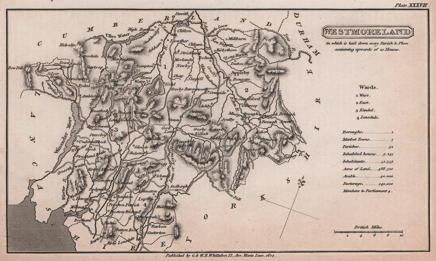 Westmoreland antique copperplate county map by Benjamin Pitts Capper 1825