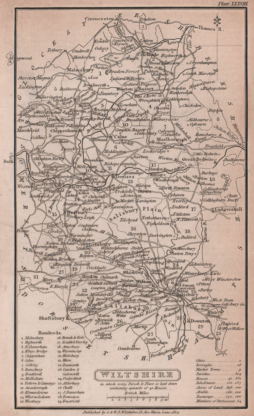 Wiltshire antique copperplate county map by Benjamin Pitts Capper 1825 old