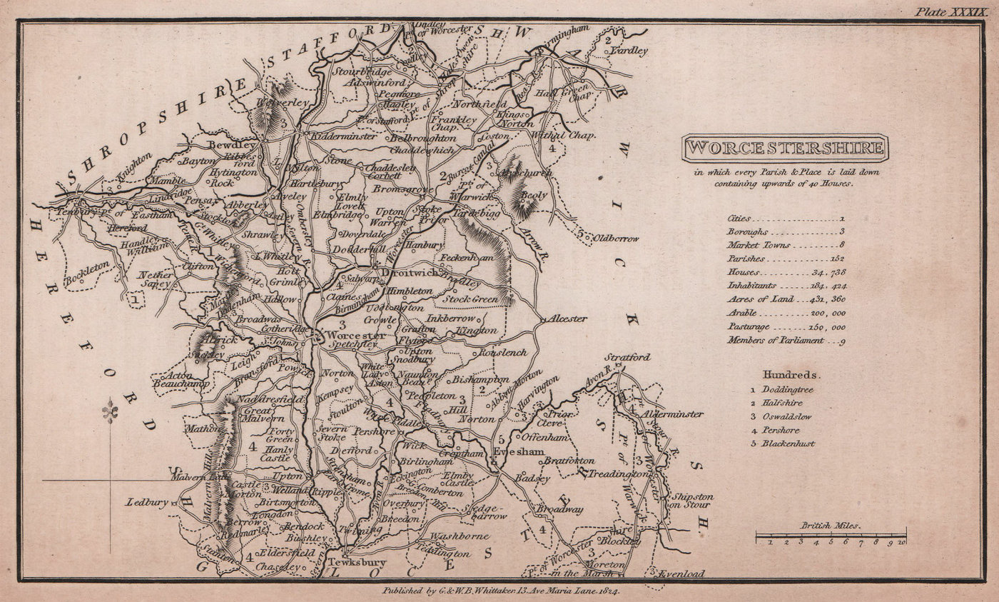 Worcestershire antique copperplate county map by Benjamin Pitts Capper 1825