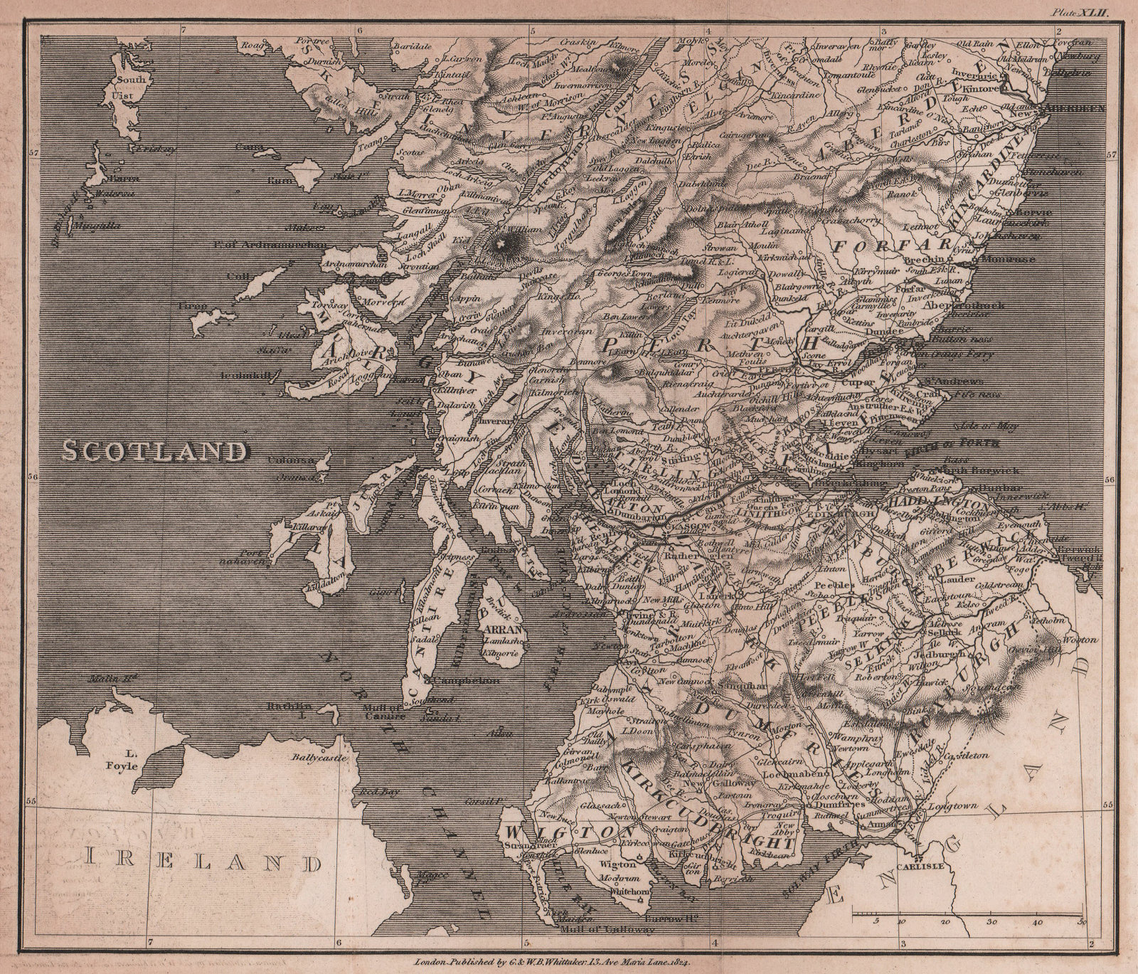 Southern Scotland antique copperplate map by Benjamin Pitts Capper 1825