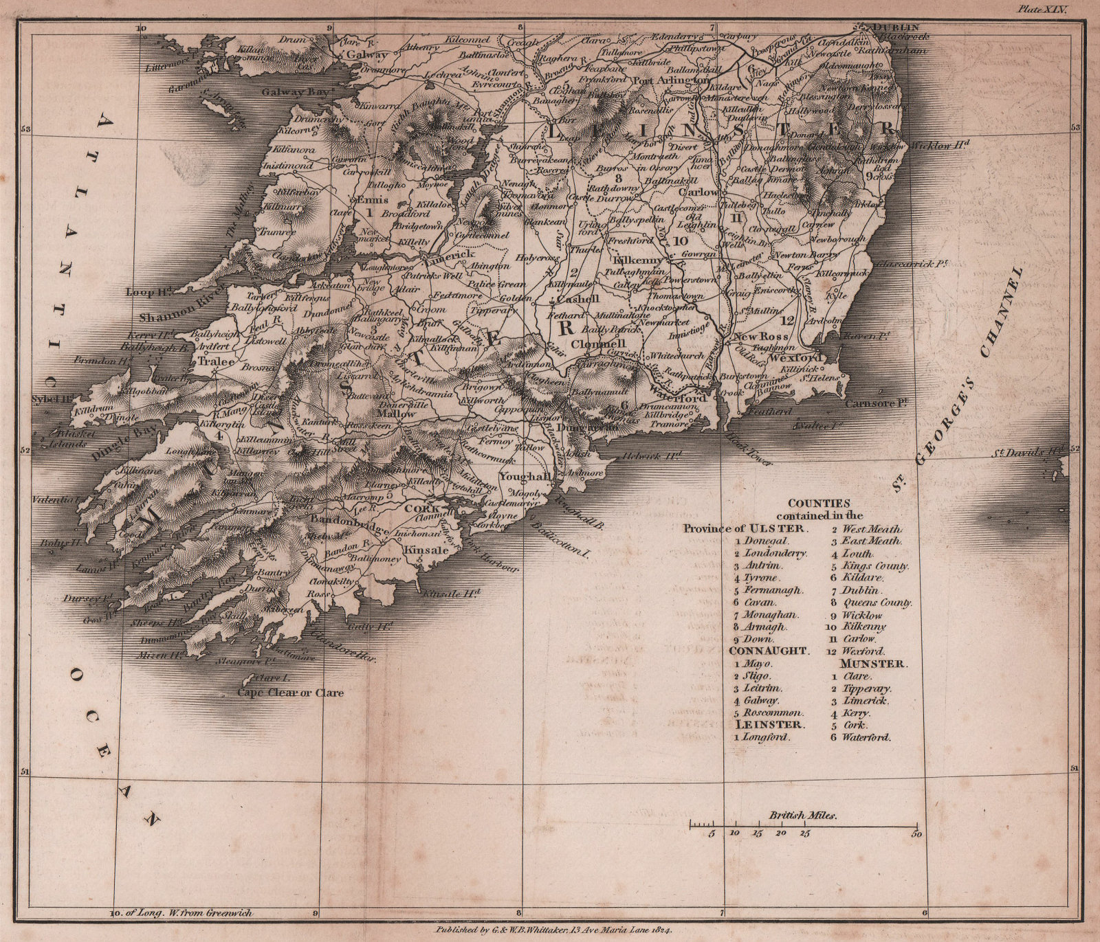 Southern Ireland antique copperplate map by Benjamin Pitts Capper 1825 old