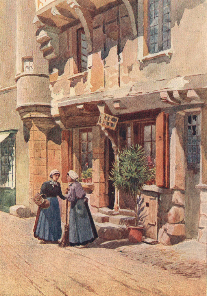 Old houses in Chinon by Alexander Murray. Indre-et-Loire 1904 print