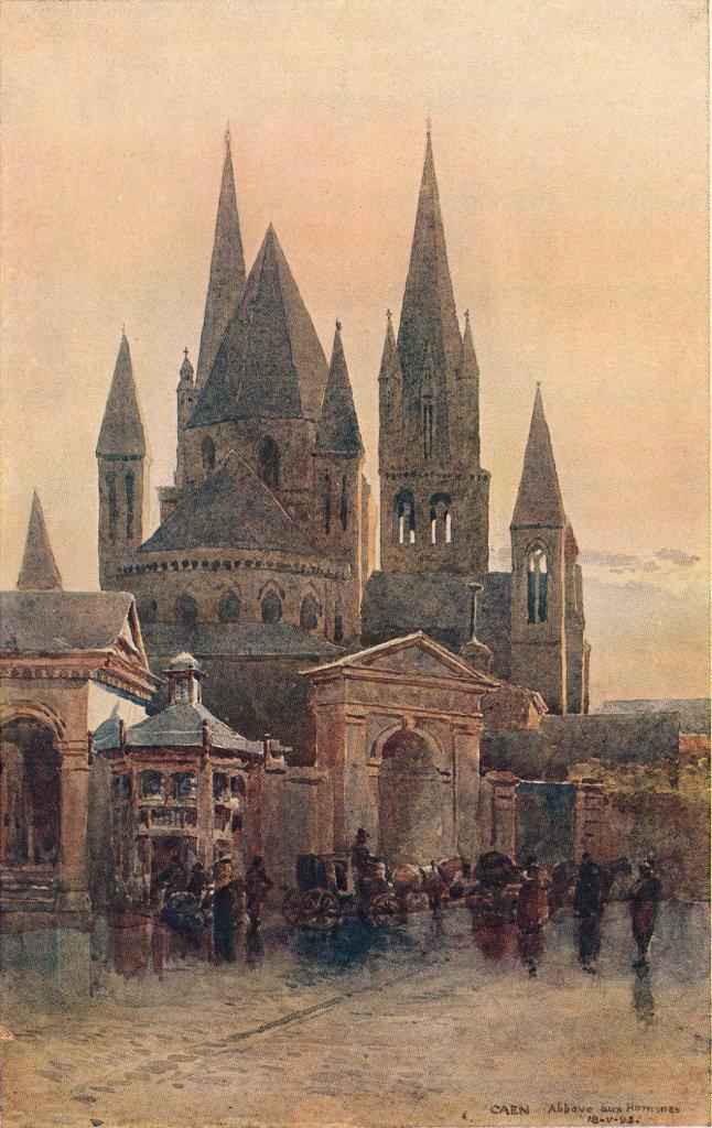 Caen, St. Stephen's church (Abbaye aux Hommes) by Alex Murray. Calvados 1904