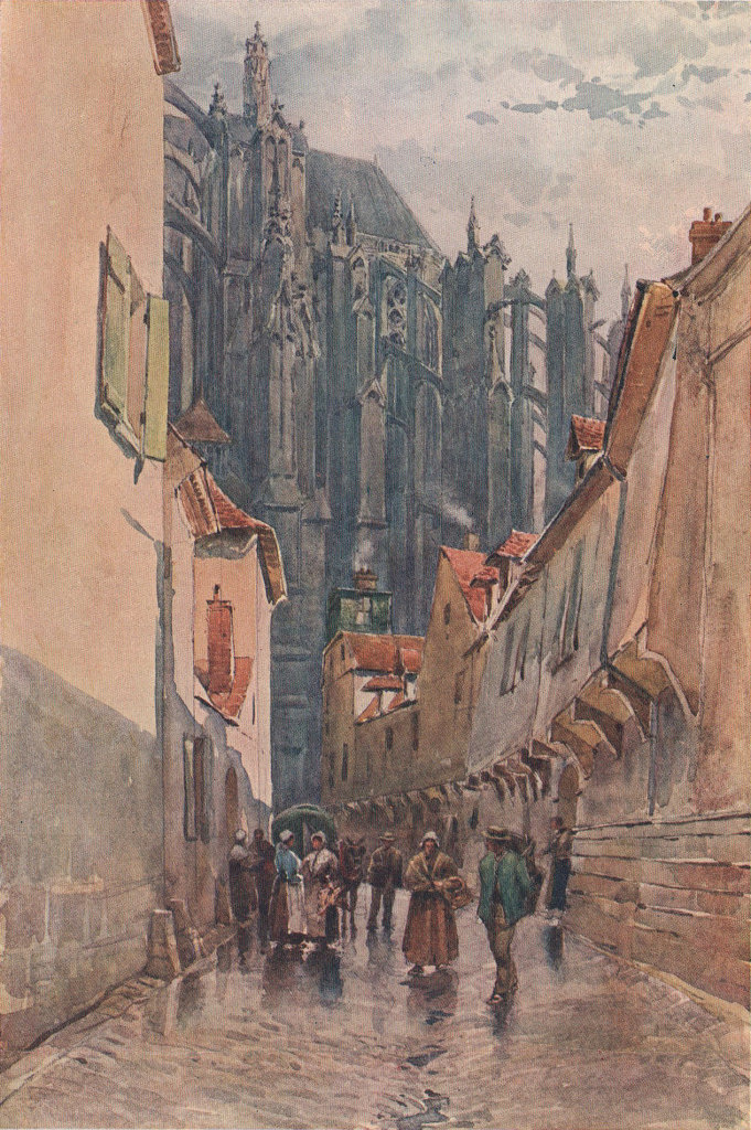 Beauvais, east end of the Cathedral, 1247 by Alexander Murray. Oise 1904 print