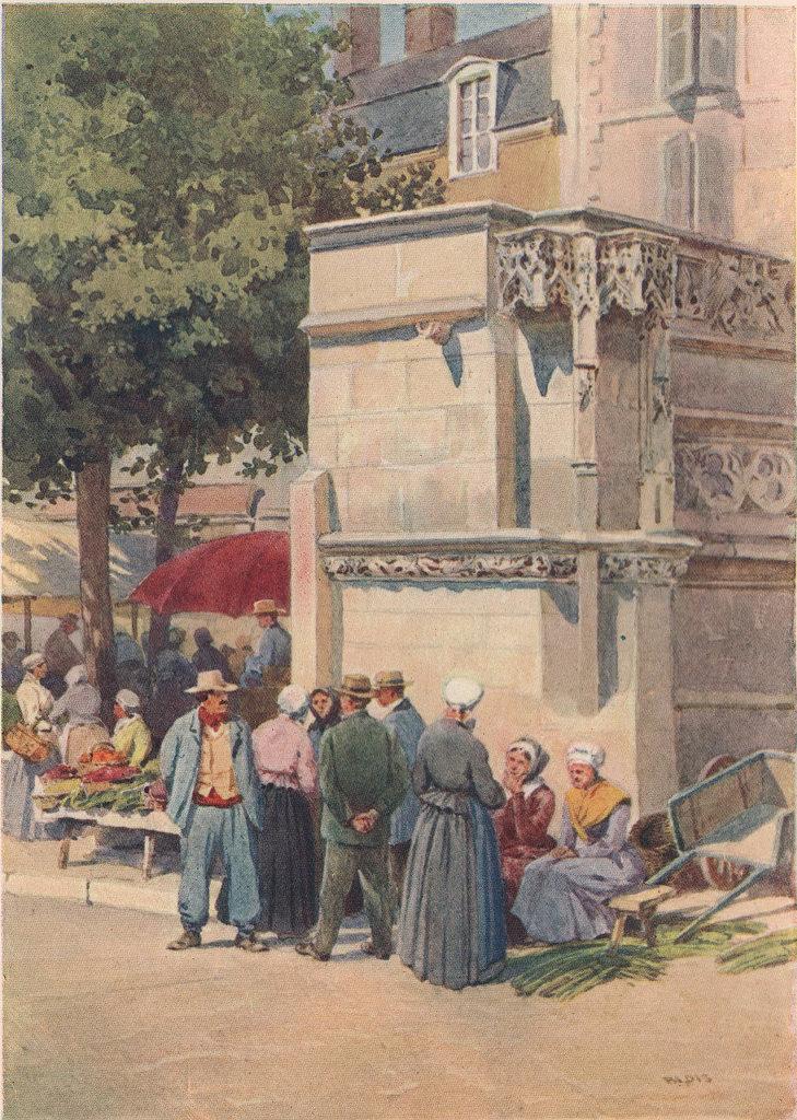 Blois, Louis XII fountain in the marketplace. Alex Murray. Loir-et-Cher 1904