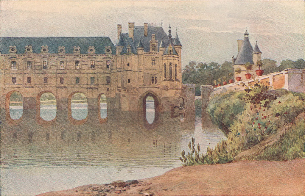 The castle of Chenonceau by Alexander Murray. Indre-et-Loire 1904 old print