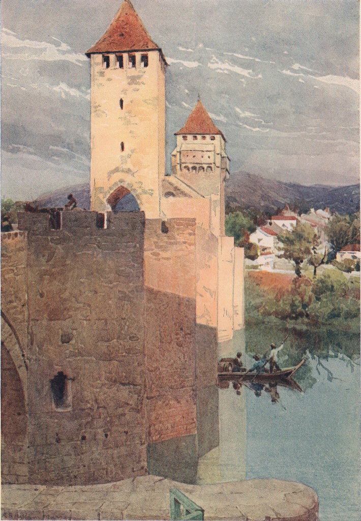 Cahors, Pont Valentré (1265-1383) from the west by Alexander Murray. Lot 1904