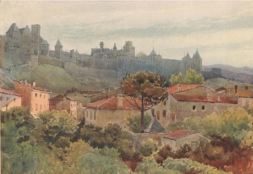 Carcasonne, Cité by Alexander Murray. Aude 1904 old antique print picture