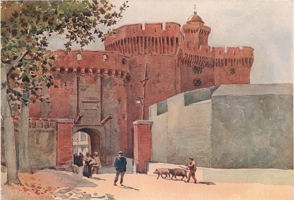 Perpignan, fortifications gateway by Alexander Murray. Pyrénées-Orientales  1904