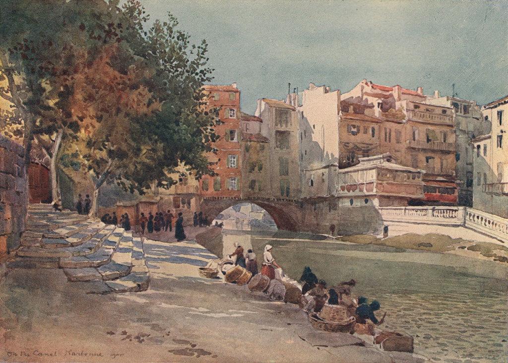 "Narbonne, ""Le Canal des Deux Mers,"" by Alexander Murray. Aude 1904 old print"