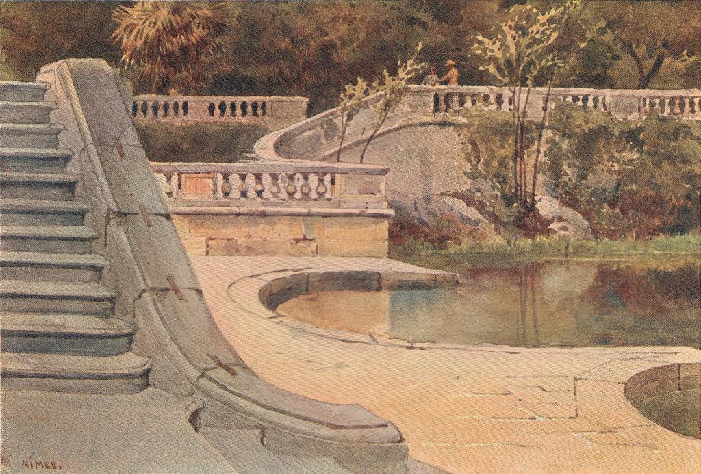 Nimes, Roman Baths by Alexander Murray. Gard 1904 old antique print picture